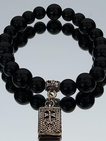 Onyx 8mm - 10mm Stone Cross Beaded Bracelet
