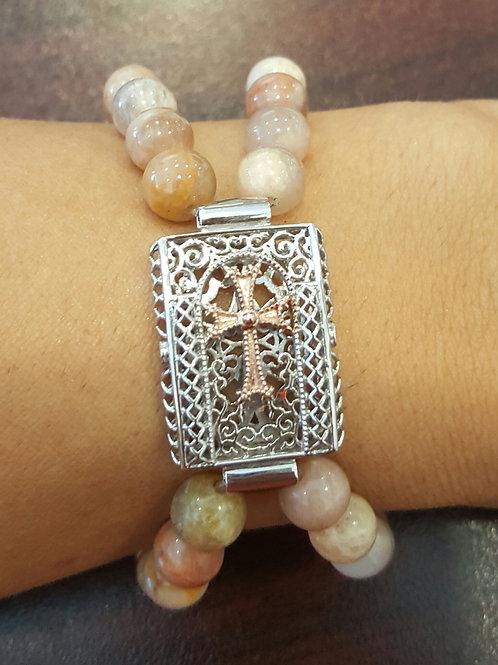 Tatev Two-Tone Double Beaded Sunstone Bracelet