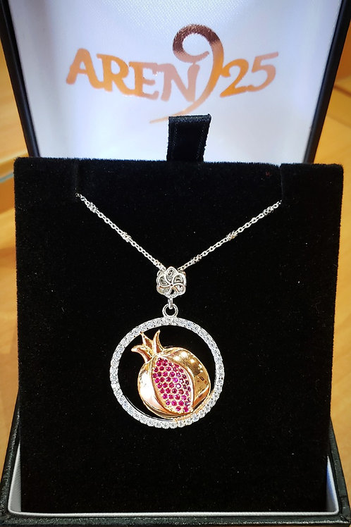 #1443 Two-tone Pomegranate Sterling Silver  Pendant w/ Accent Stones