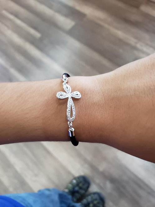 Over under cross silver plated C Z Stone pave set