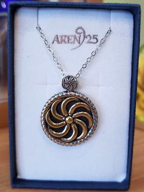 #1330 - Two-tone Sterling Silver Large Eternity Pendant