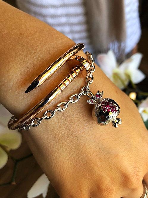 #1411- Silver Lg. Pomegranate Charm Bracelet