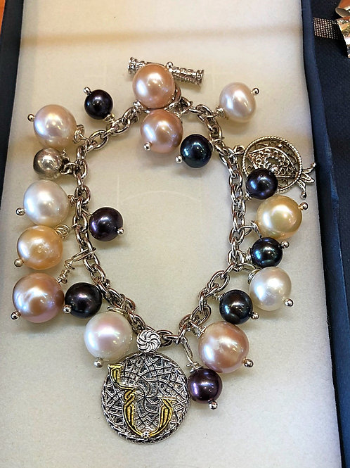 Sterling Silver Initial, Pomegranate & Pearl Charm Bracelet