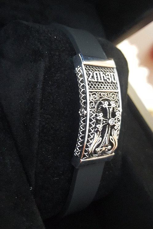 Houys 14K White Wristband with Diamond