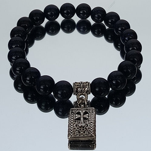 Onyx Stone Cross Beaded Bracelet
