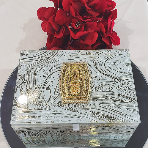 Rectangle Jewelry Box with 18K Yellow Plated Khachkar