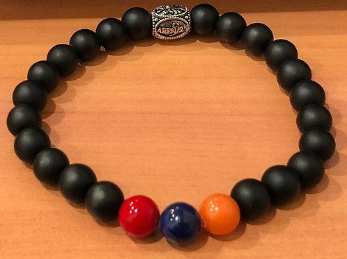 8 mm Beaded bracelet Black AgateAren925 Stone Cross ArmenianՀայկական եռագույն