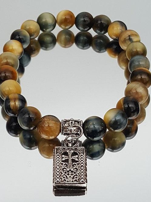 Golden Tiger Eye Blue Stone Cross Beaded Bracelet