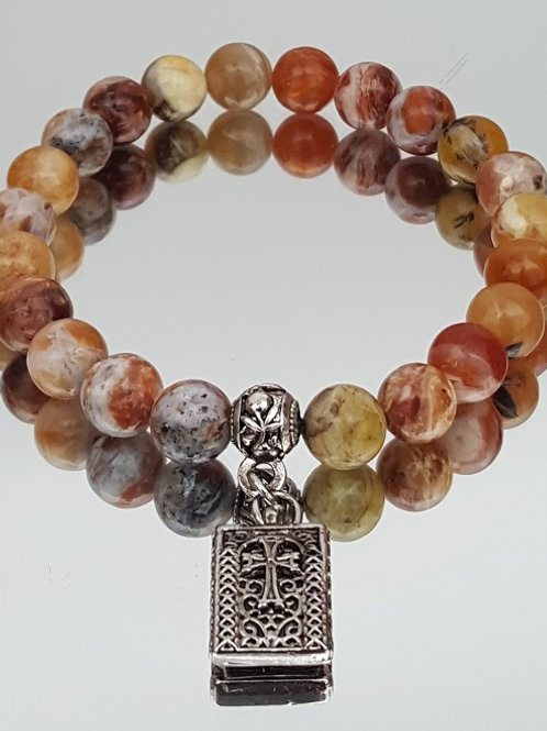 Brandy Opal Stone Cross Beaded Bracelet
