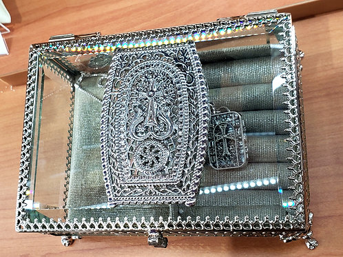 Jewelry Box with Silver Plated Khachkar