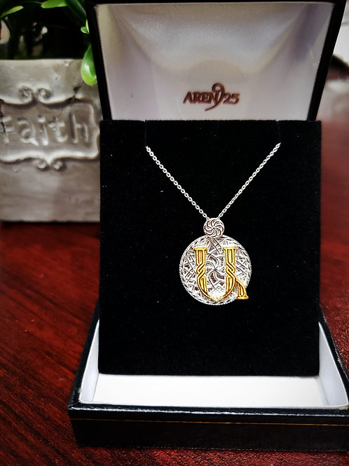 "Armenian ""Ayp - Ayb"" Sterling Silver Pendant with Gold Plated Letter"