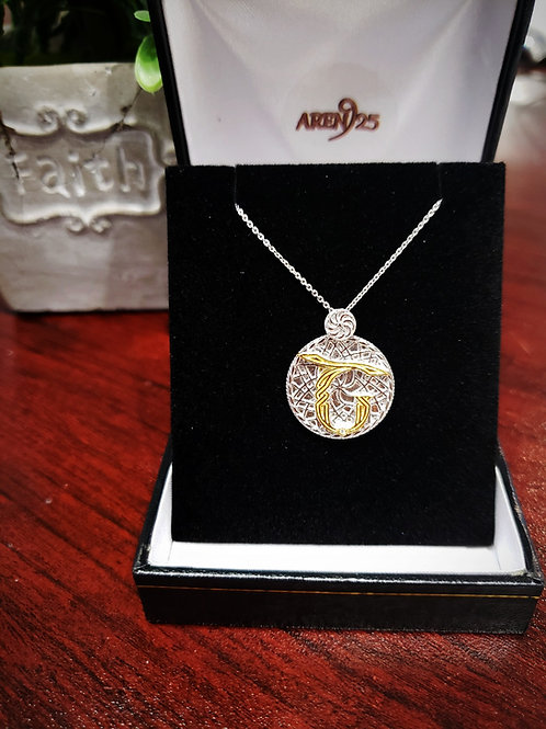 """Armenian """"Sh"""" Sterling Silver Pendant with Gold Plated Letter"""