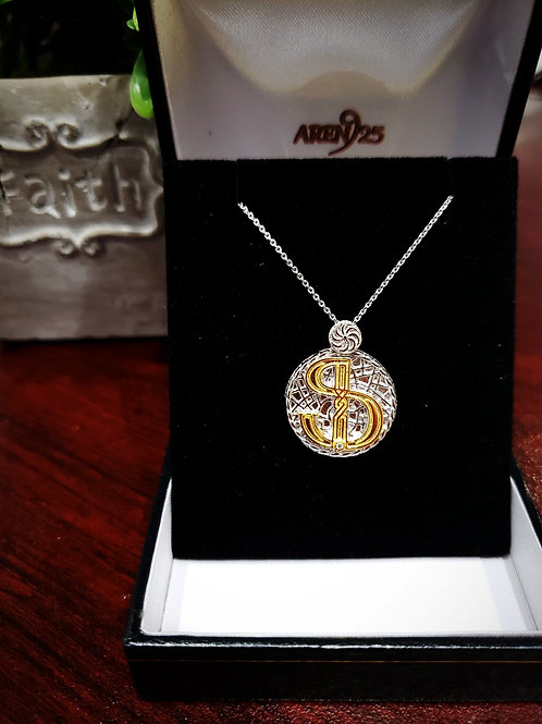 "Armenian ""Fe"" Sterling Silver Pendant with Gold Plated Letter"