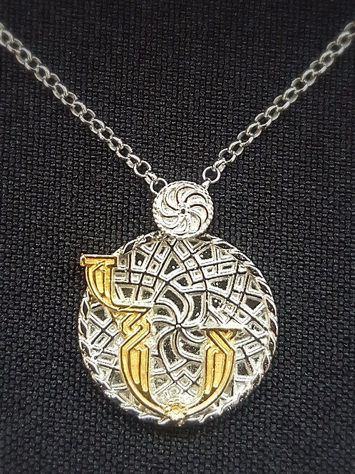 "Armenian ""Nu"" Sterling Silver Pendant with Gold Plated Lette"