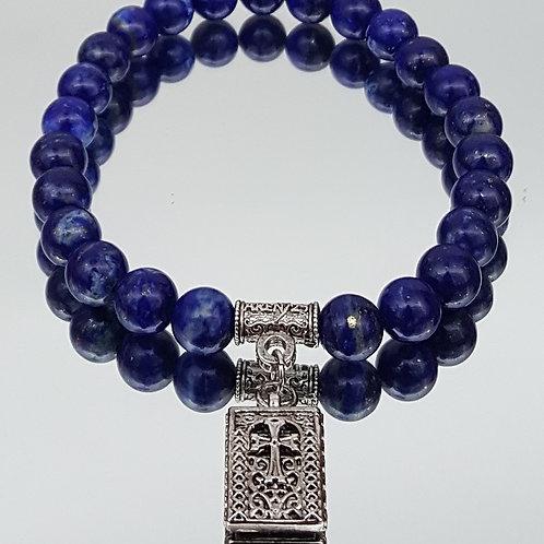 Blue Lapis Stone Cross Beaded Bracelet