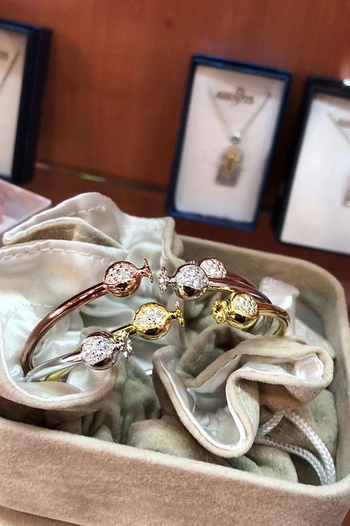 Set of 3 Pomegranate  Bangle Silver Spring Bracelets