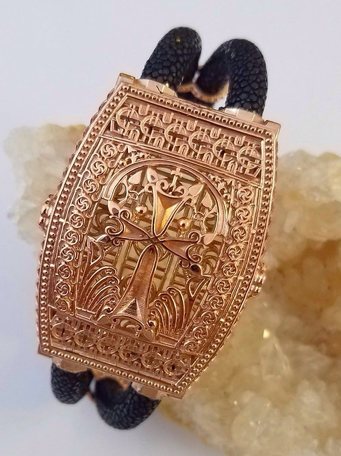 Aren 14K Rose Gold Khachkar Stingray Bracelet with Magnetic Clasp