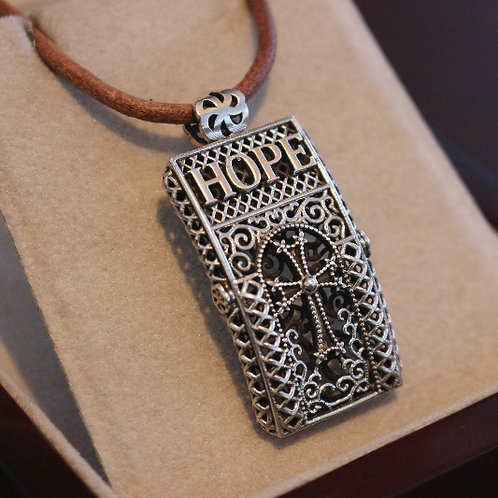 Hope Pendant with Brown Cord