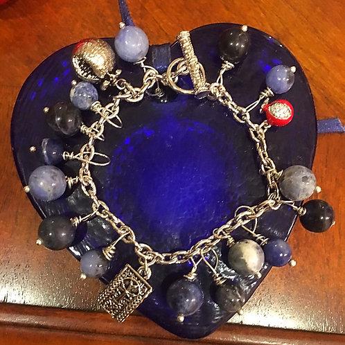 Sterling Silver Khachkar, Pomegranate with Sodalite Charm Bracelet
