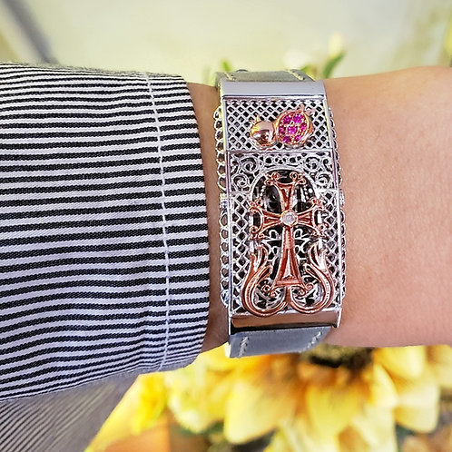 #1167 - Alique Two-Tone Sterling Silver with Rose Gold Cross Wristband
