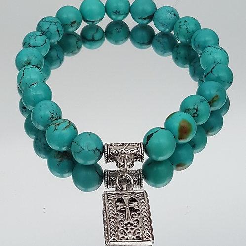 Turquoise Adult Stone Cross Beaded Bracelet