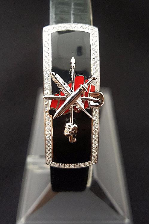 1307 Large ARF Silver CZ Micro Pave ID Bracelet