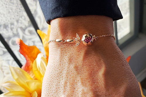 #1430- Sterling Silver Rose Gold Plated Small Pomegranate Bracelet