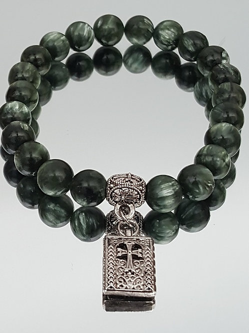 Seraphinite Stone Cross Beaded Bracelet