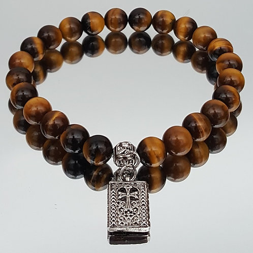 Tiger Eye Stone Cross Beaded Bracelet