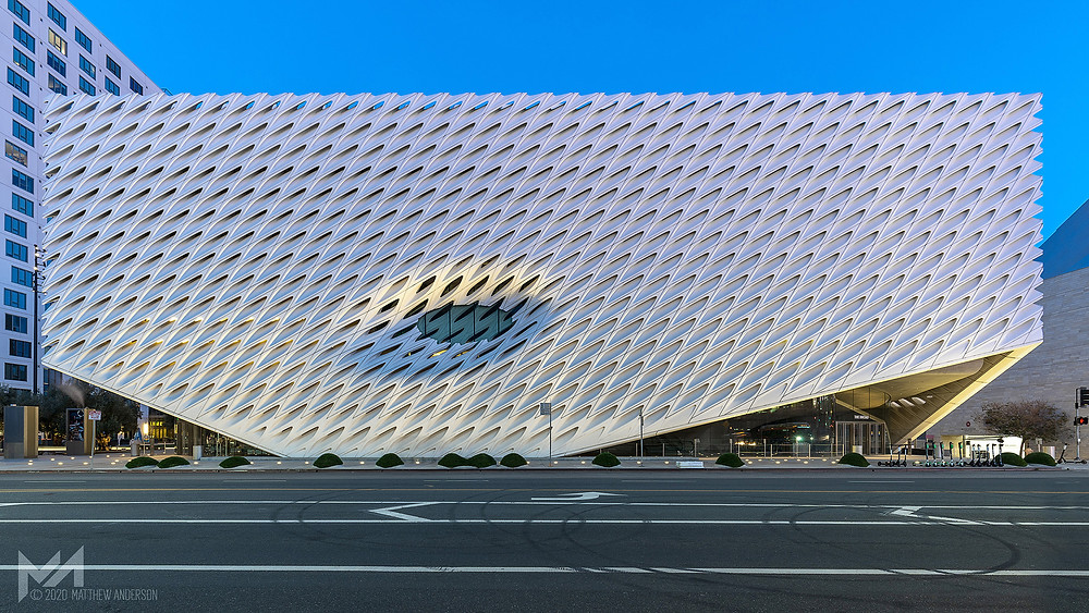 the los angeles broad museum at sunrise