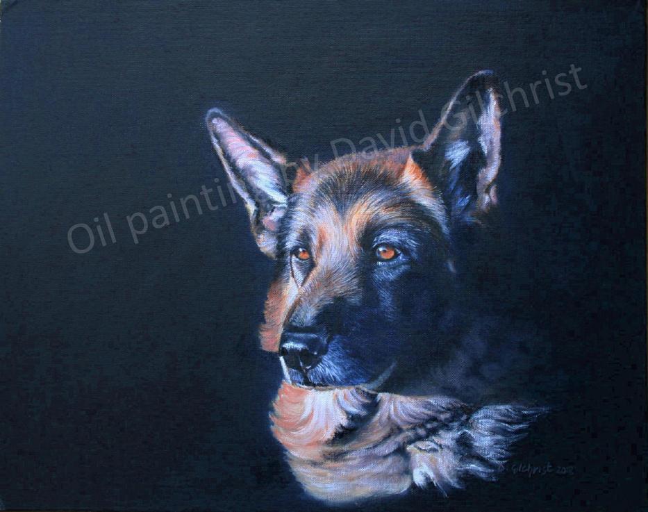 painted oil dog portrait