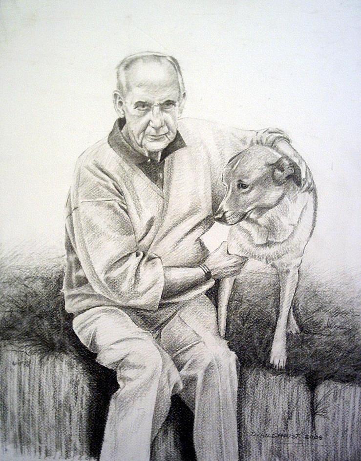 man and dog portrait