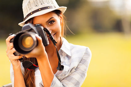 attractive young woman talking pictures