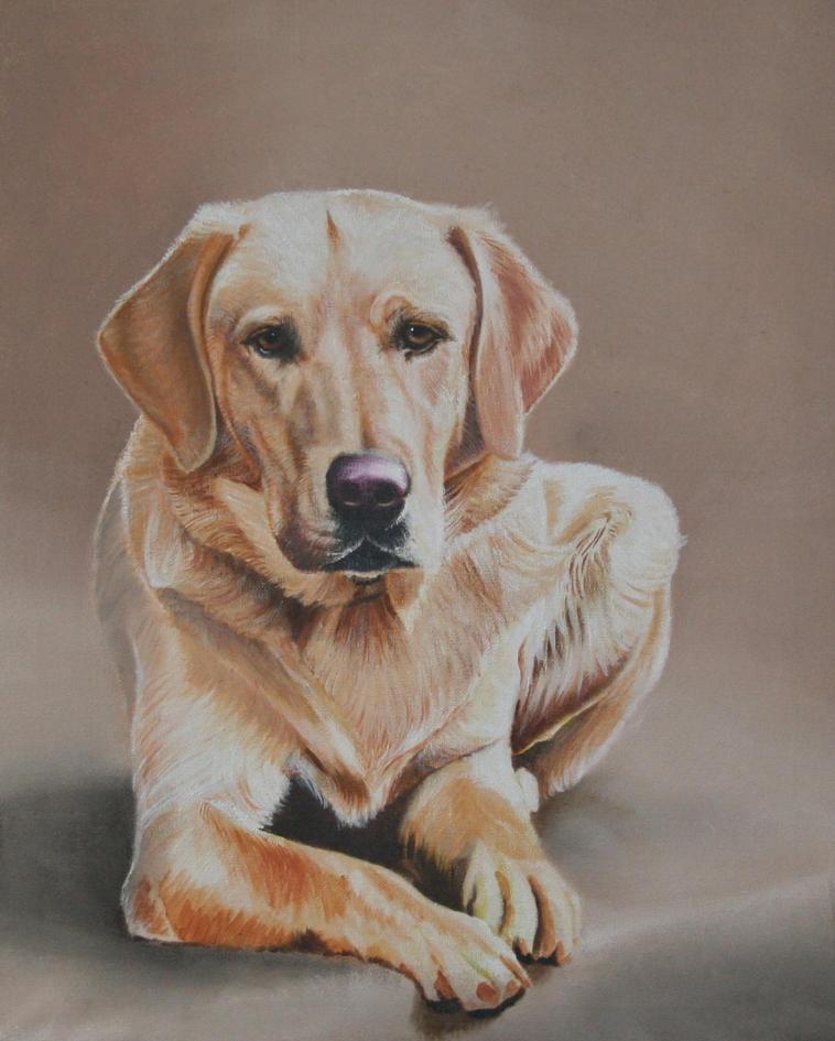 dog oil portrait painting