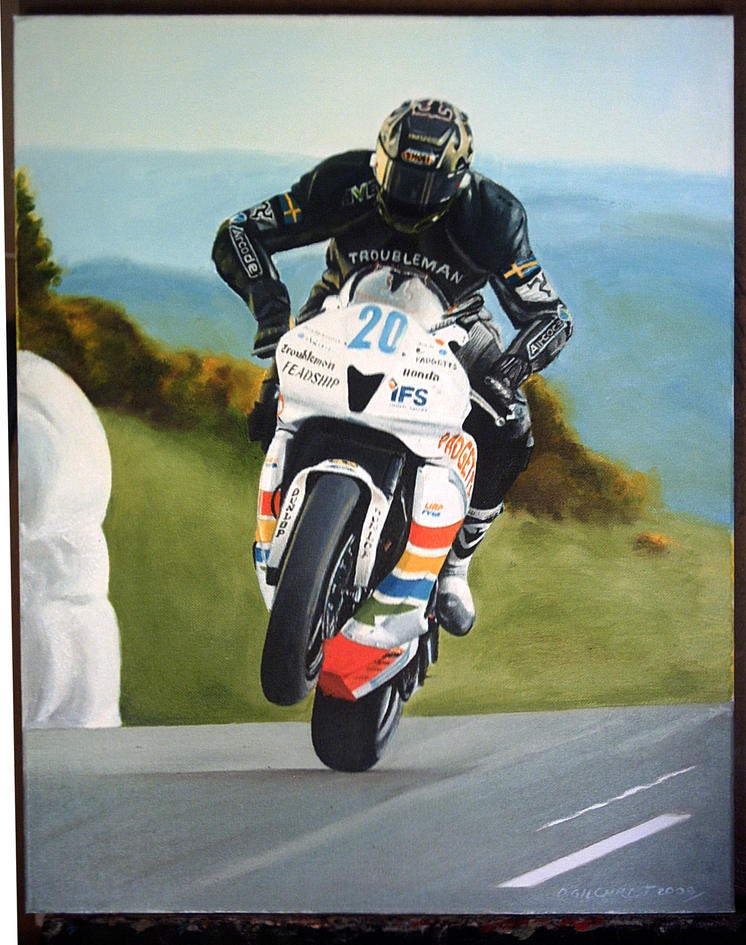biker oil painting