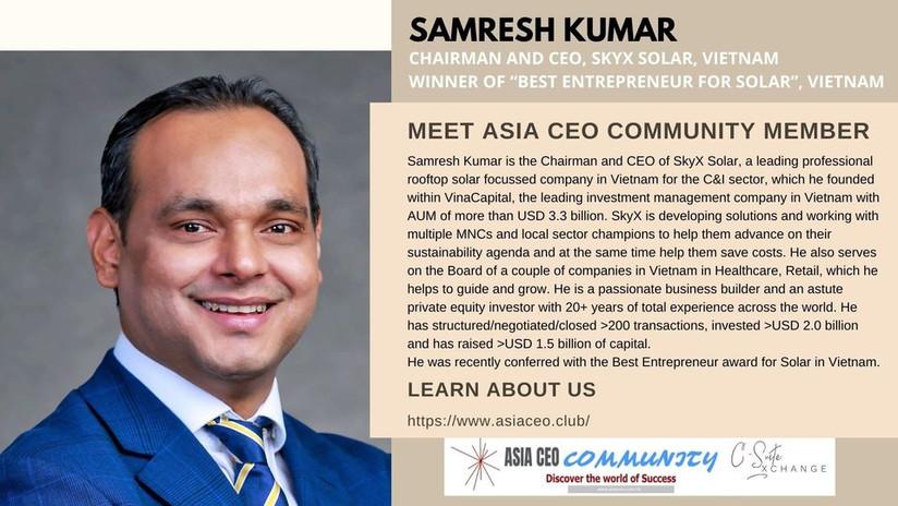 Chairman and CEO, SkyX Solar, Vietnam Winner