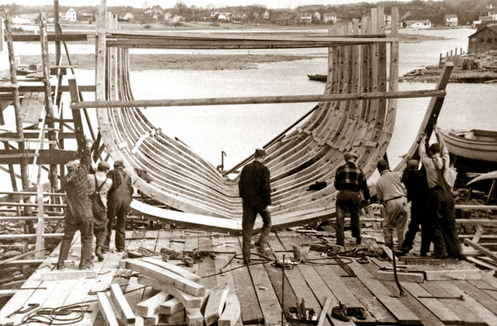 """Frame Up"" of Famiglia II at the Dana A. Story Shipyard"