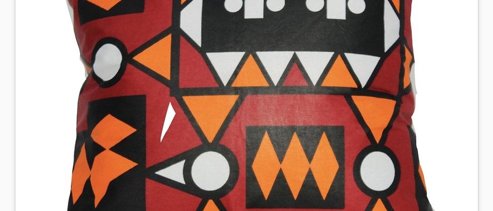 Orange & Black Patterned Cushion Cover