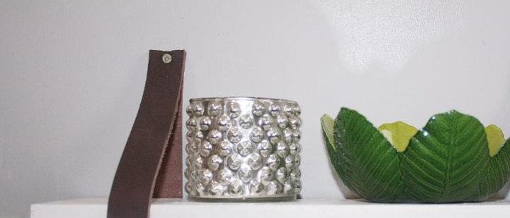 Set of 2 Wood & Leather Mini Shelves