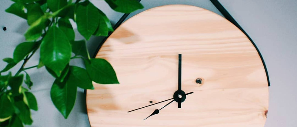 Wood & Leather Clock