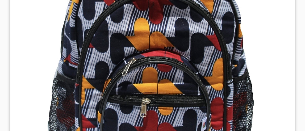 Grey and Orange Patterned Backpack