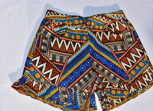 Print Summer Shorts with Frill Detail