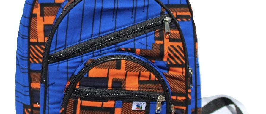 Blue Patterned Backpack