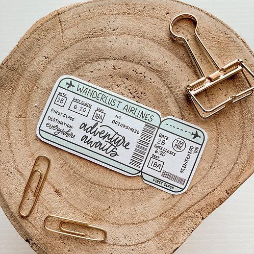 Ticket to Wanderlust Sticker