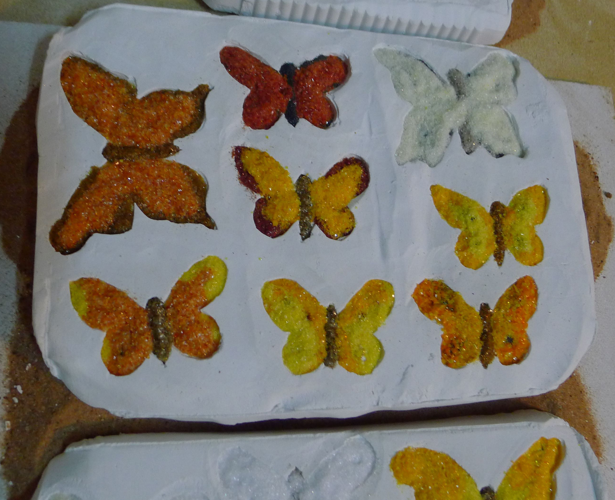 butterflies, before kiln