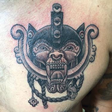 Aztec war mask tattoo