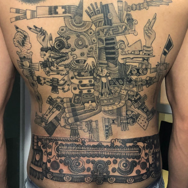 Aztec ancient mayan god backpiece