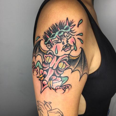 Color fantasy psychedelic tattoo
