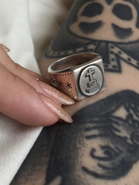 Beautiful silver ring with cross