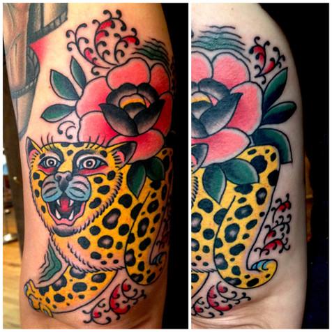 cheetah and flower tattoo